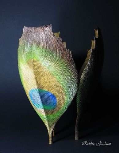 Peacock by woodturner Robbie Graham